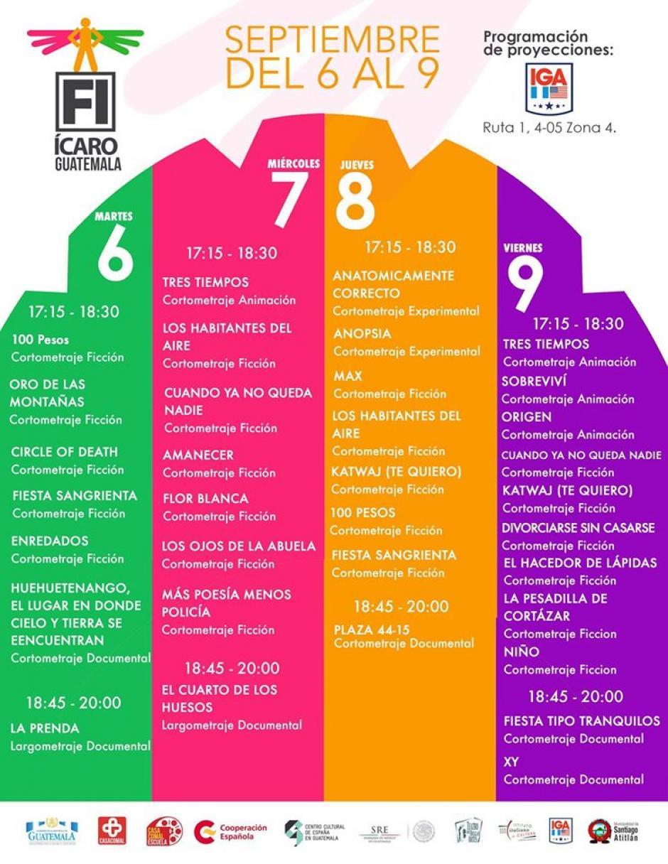 Estos son los horarios en el Teatro del IGA. (Foto: Festival ícaro)