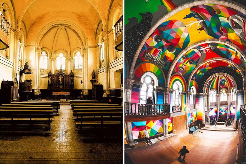 El antes y el después de la Iglesia española. (Foto: La Iglesia Skate / Red Bull Media)