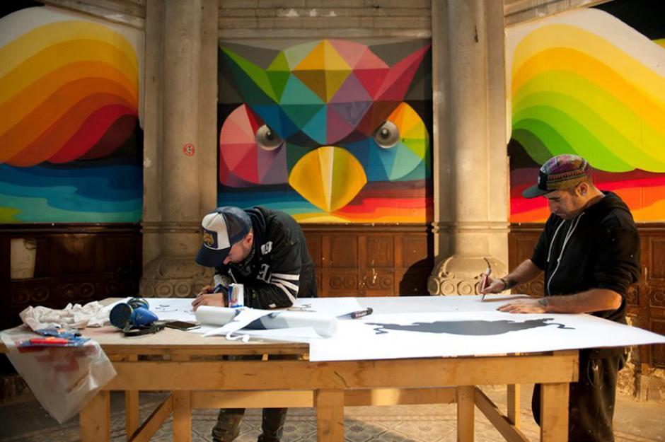 Artistas que trabajaron en la transformación. (Foto: La Iglesia Skate / Red Bull Media)