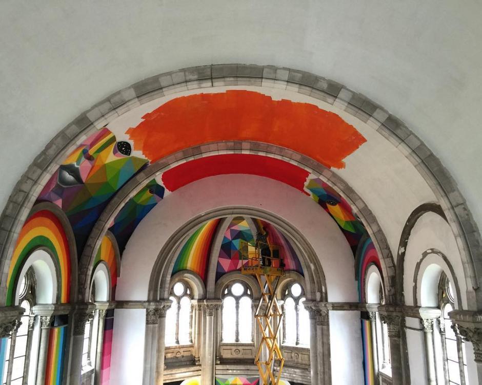 Proceso de la pintura artística de Okuda. (Foto: La Iglesia Skate / Red Bull Media)
