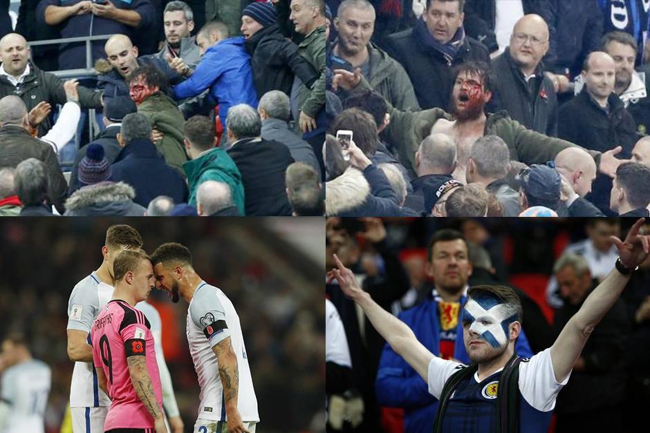 El partido entre Inglaterra y Escocia tuvo de todo. (Fotos. Infobae/AFP)