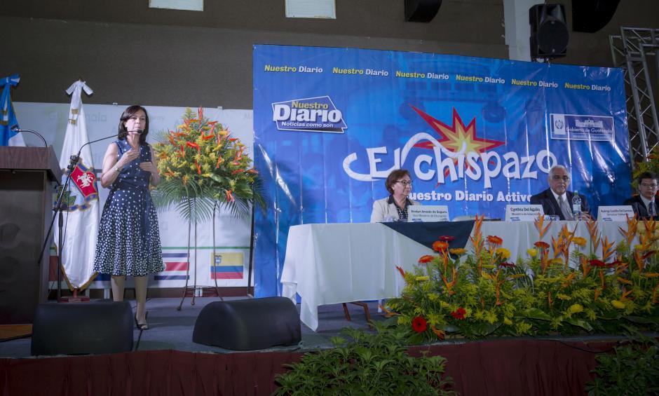 Cynthia Del Águila, ministra de educación, durante la entrega de reconocimiento a dicho ministerio.(Foto: George Rojas/Soy502)
