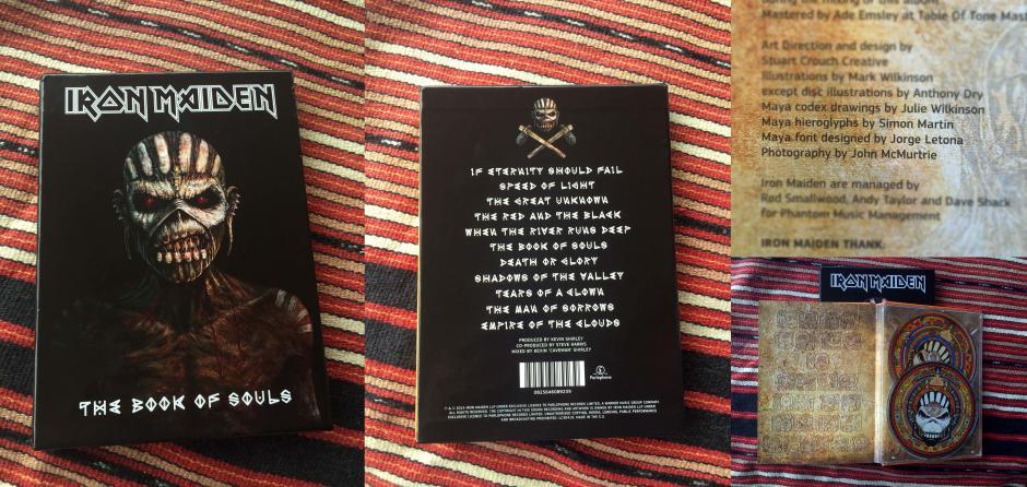 El disco de Iron Maiden con el crédito al diseñador. (Foto: Jorge Letona)