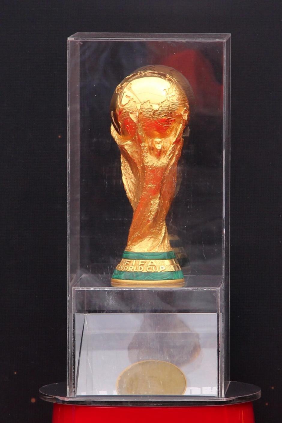 El trofeo de la Copa del Mundo será expuesto en esta urna, en el Parque de la Industria, en la zona 9 capitalina. (Foto: Luis Barrios/Soy502)