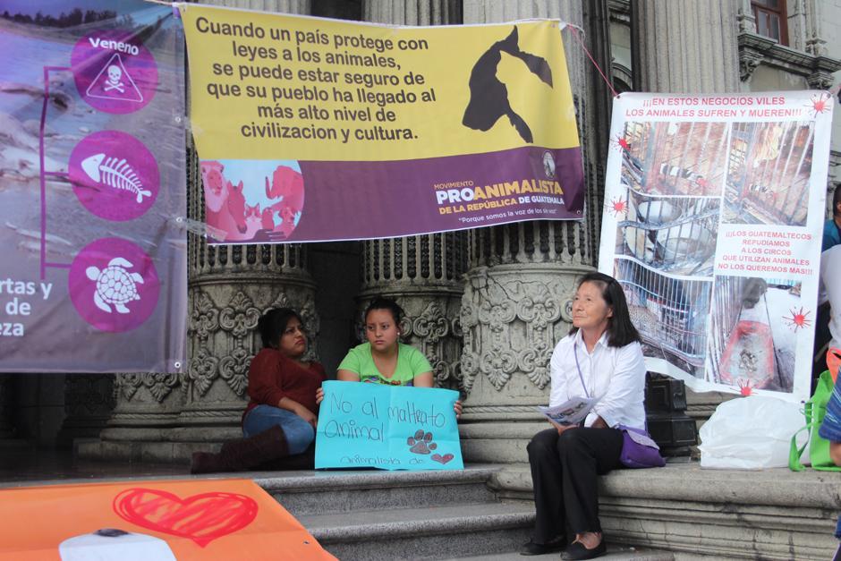 Varias personas llegaron frente al Palacio Nacional de la Cultura para exigir justicia. (Foto: Alejandro Balan/Soy502)