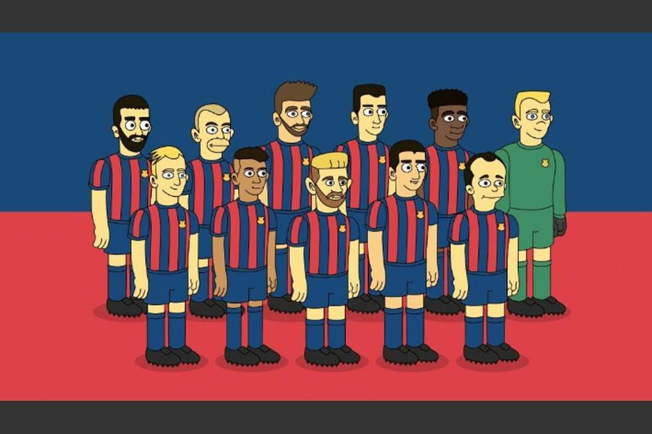 Messi, Iniesta, Piqué, Neymar y los futbolistas del Barcelona al estilo de los Simpson. (Imagen: Emilio Sansolini)