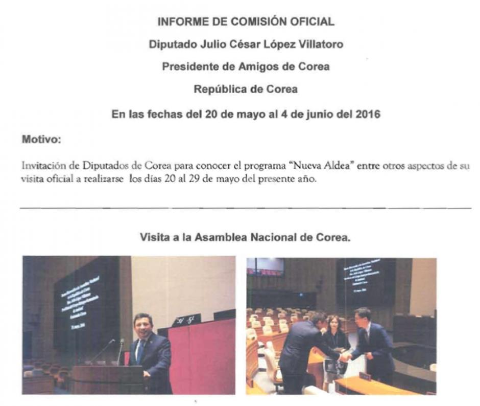 La mayoría de informes presentados por diputados llevan más fotografías que descripción de lo que fueron a hacer. (Foto: captura de pantalla)
