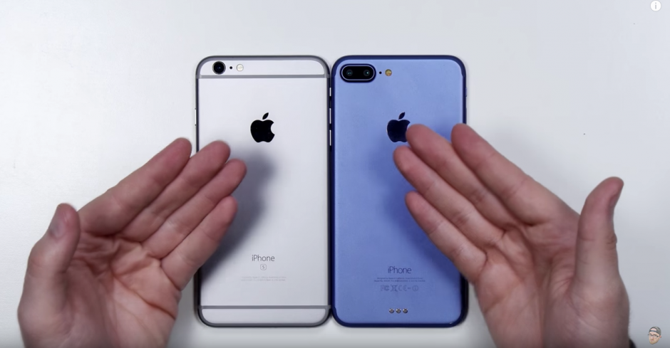 Se compara el nuevo dispositivo iPhone 7 con el iPhone 6S. (Captura de pantalla: Unbox Therapy/YouTube)