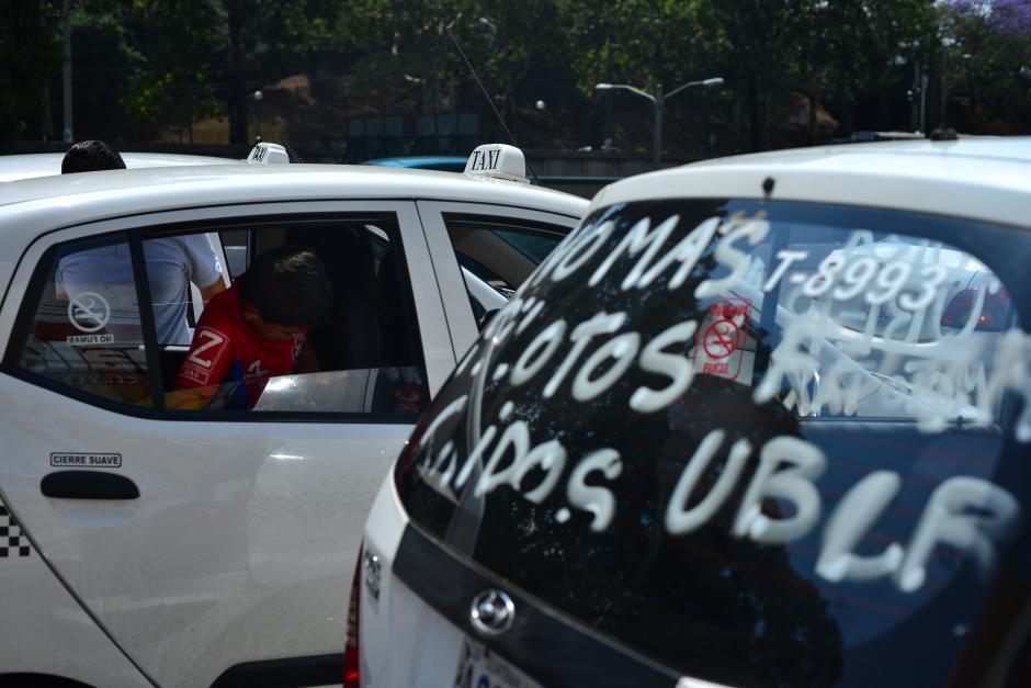Esta es la segunda protesta en la semana de parte de los taxistas. (Foto: Jesús Alfonso/Soy502)