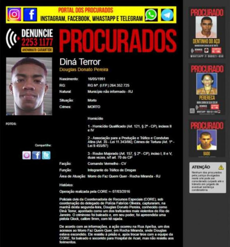 Este es el aviso de la policía sobre Donato Pereira.  (Foto: noticias.anotao.com)