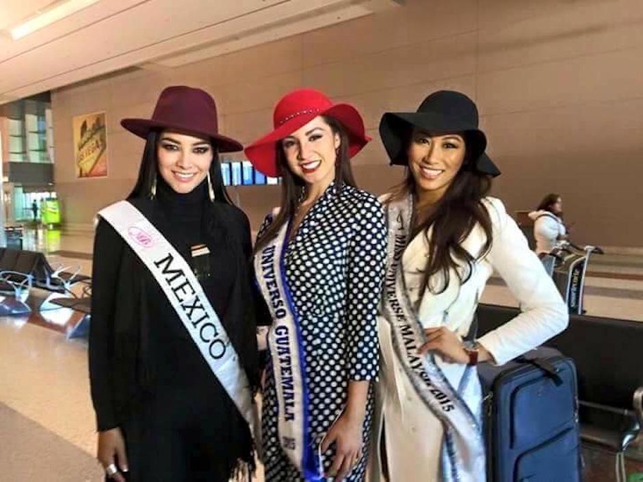 La guatemalteca arribó al aeropuerto junto a las representantes de México y Malasia. (Foto: Miss Guatemala US)