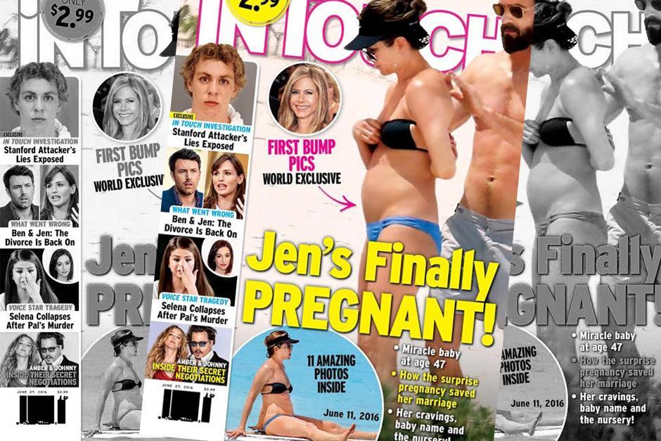 De acuerdo a la edición de la revista InTouch, Aniston estaría a la espera de su primer bebé. (Foto: In Touch)