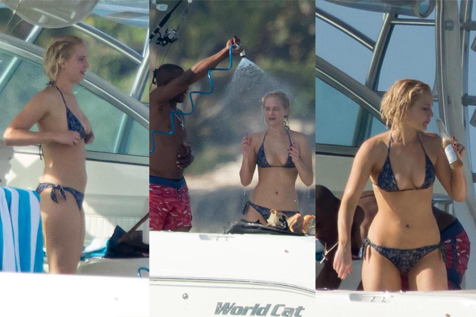 Jennifer Lawrence lució un diminuto bikini en un yate en Las Bahamas. (Foto: telemundo.com)