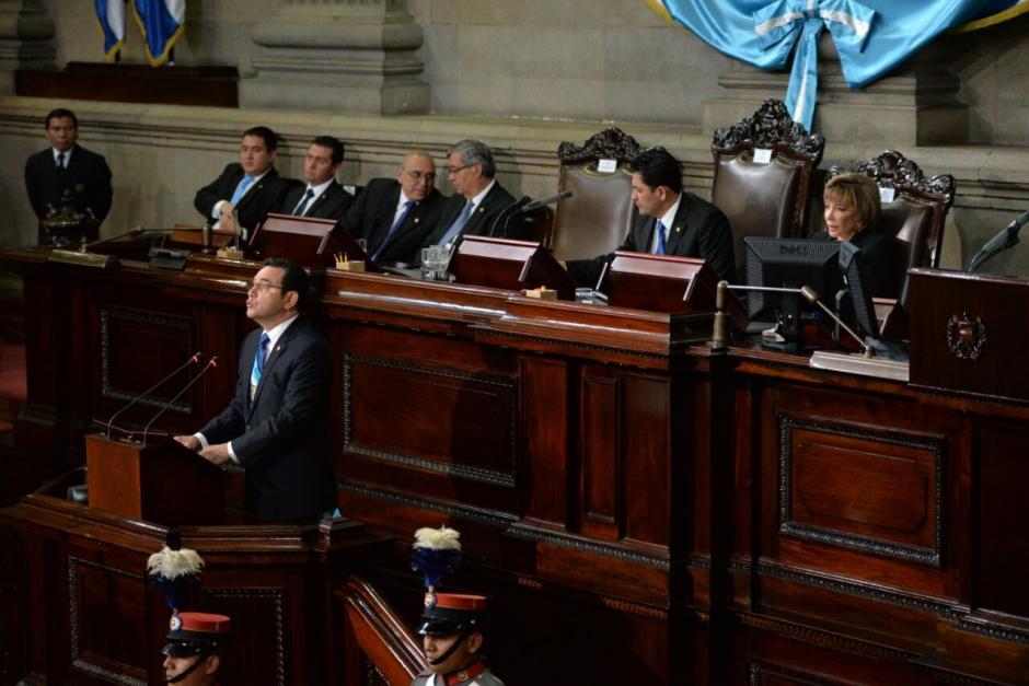 El mandatario inició con su presentación del informe de gobierno.  (Foto: Wilder López/Soy502)