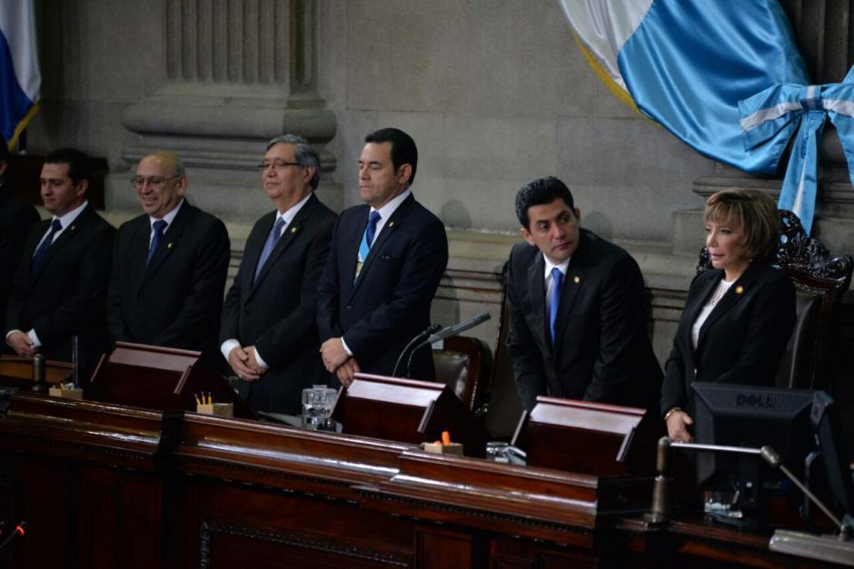 Los presidentes de los tres poderes del Estado en el Congreso. (Foto: Wilder López/Soy502)