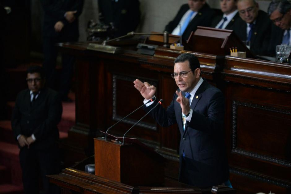 Al final de su alocución Morales pidió respeto por parte del Congreso. (Foto: Wilder López/Soy502)