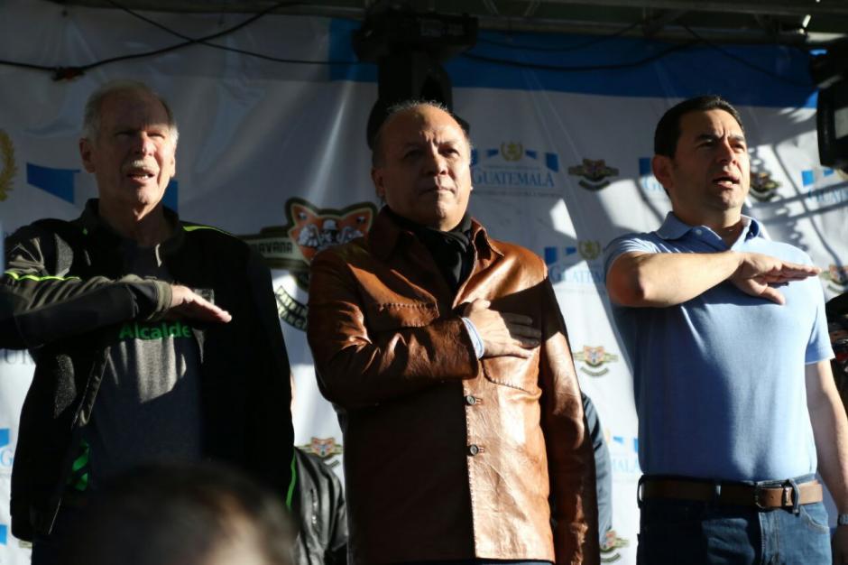 El Ministro de Cultura y Deportes acompañó al presidente Jimmy Morales en el acto. (Foto: Alejandro Balán/Soy502)