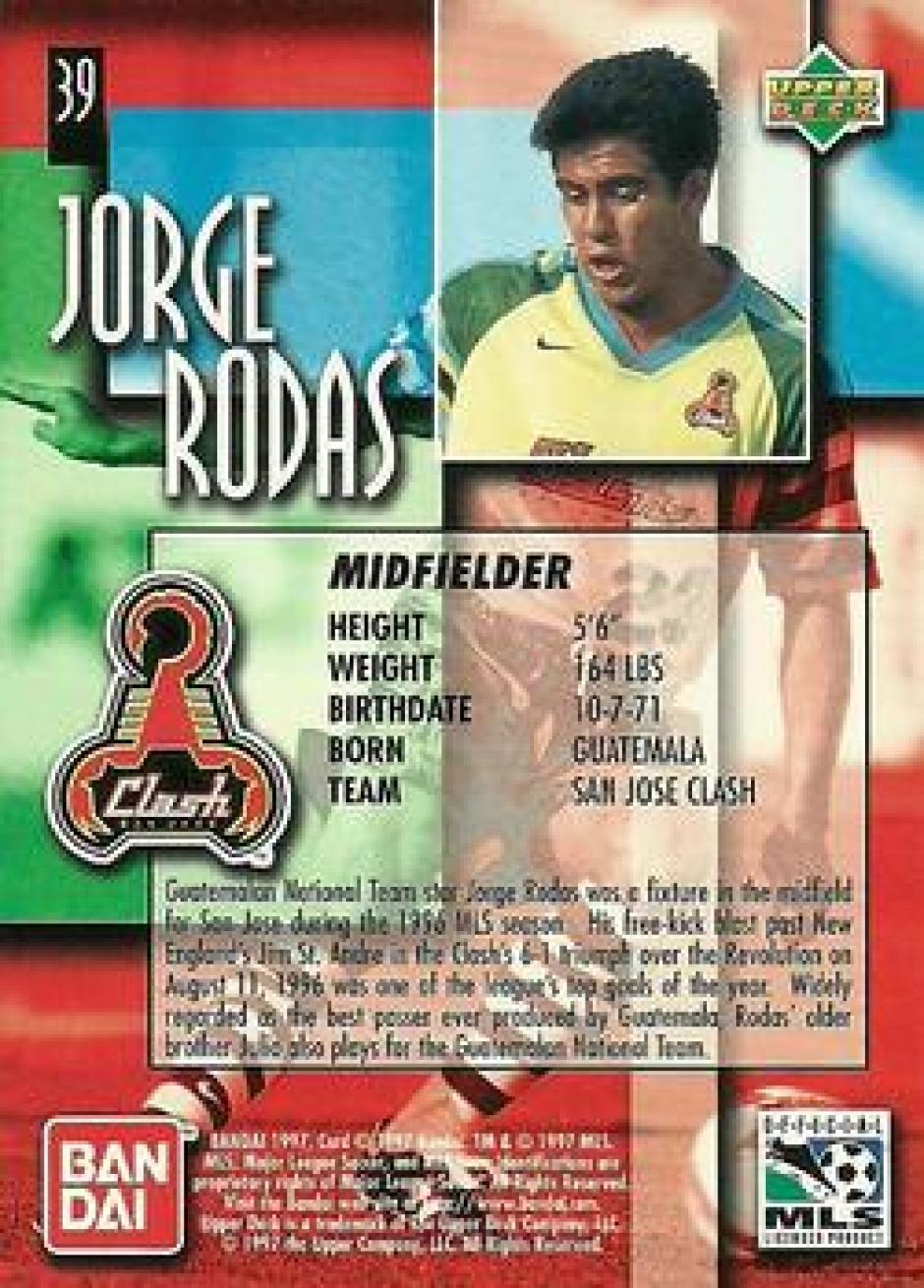 La información de Jorge Rodas en 1996, cuando debutó en la MLS.  (Foto: Google)