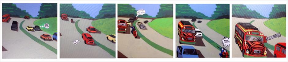 """De la serie crónicas: """"Bus y Moto"""", pieza de David Pérez - Karma Davis. (Foto: El Azar Cultural)"""