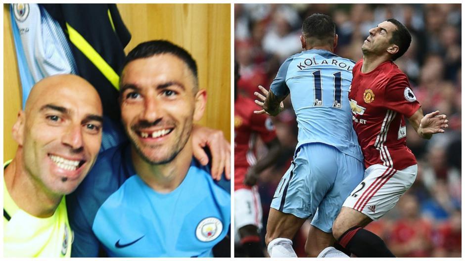 Kolarov perdió un diente en un choque durante el derbi. (Fotos: Instagram/AFP)