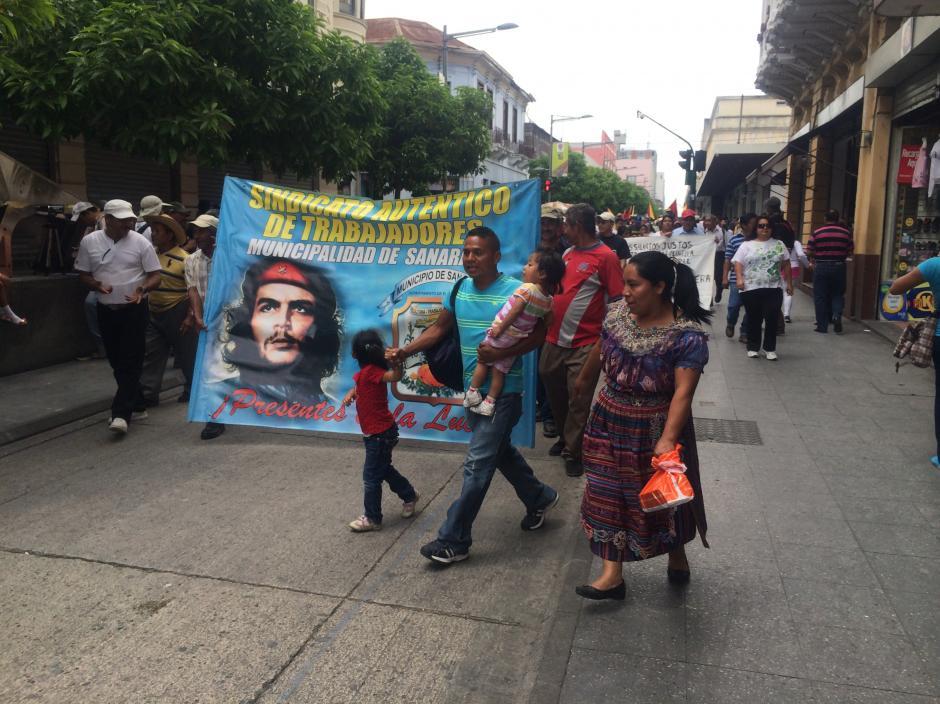 Trabajadores de las comunas del interior del país también participaron en los actos conmemorativos. (Foto: Luis Barrios/Soy502)