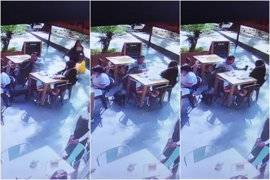 El hombre fue grabado por las cámaras de seguridad del local. (Imagen: capturas de YouTube)
