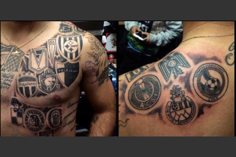 Así se tatuó Leonardo Monje los escudos de clubes donde ha militado. (Foto: tattoorockers)
