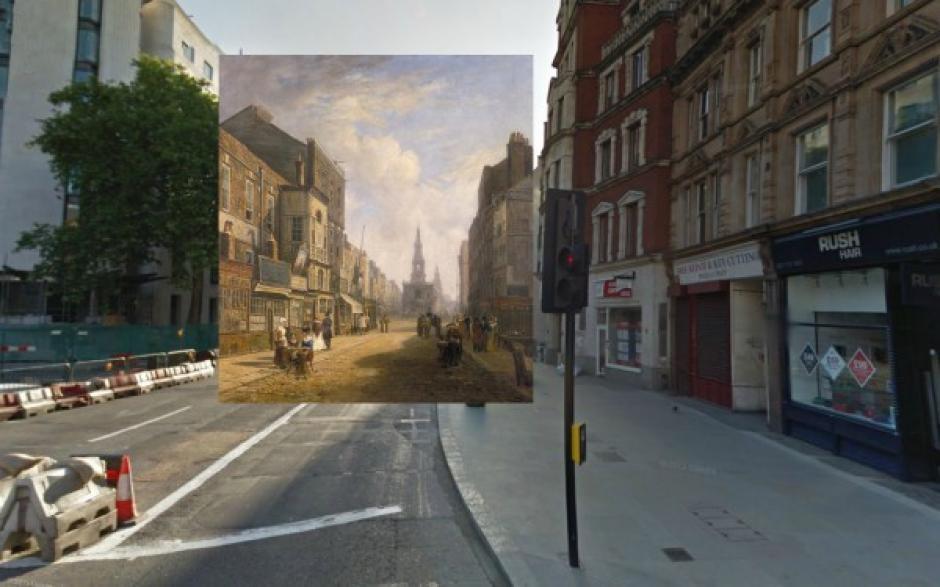 The Strand visto desde Casa de Bolsa Exeter (1822). Artista desconocido. (Foto: Visual News)
