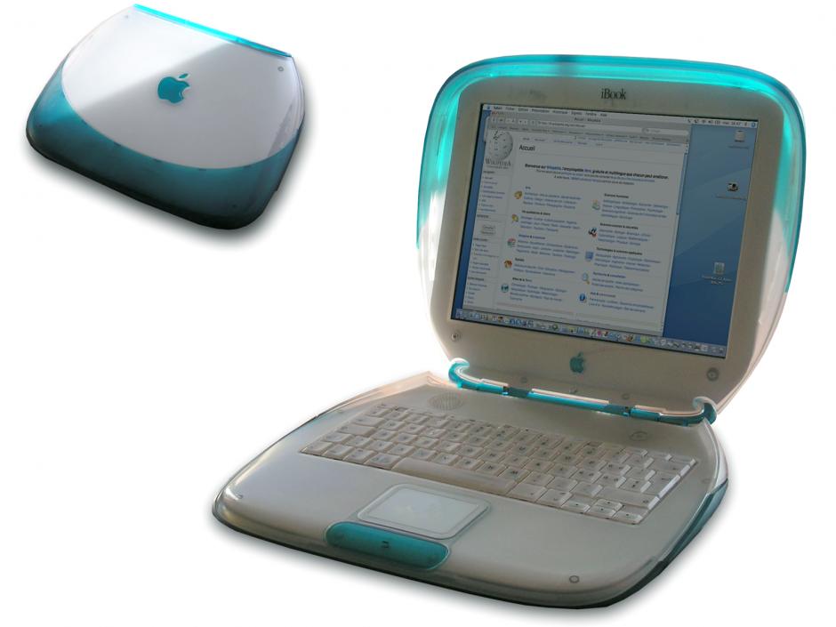 Ibook. Una pórtatil con gamas de colores divertidos y puertos para Ethernet, usb y módem.