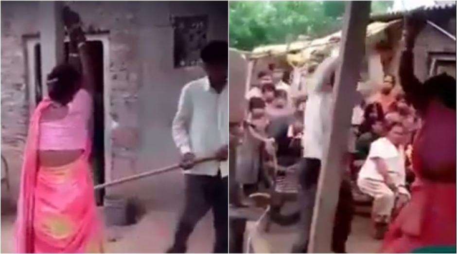 Un hombre en la India castiga a su esposa y a su supuesto amante. (Captura de pantalla: Kundan Srivastava/Facebook)