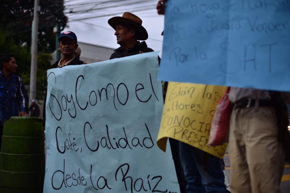 Cientos de caficultores se encuentran manifestando frente a las instalaciones de la SAT.  (Foto: Jesús Alfonso/Soy502)
