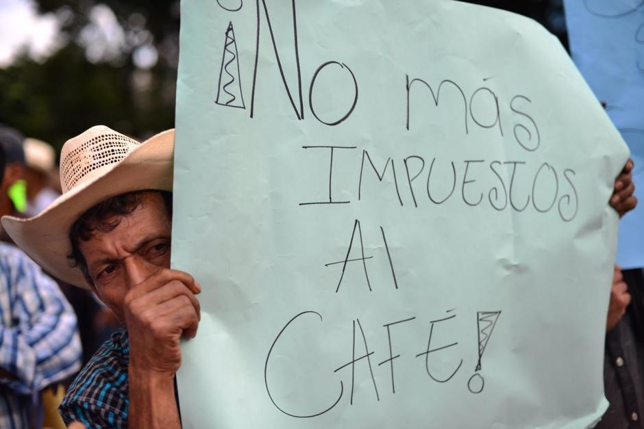 La manifestación de caficultores es para solicitar una rebaja del 3% en el Impuesto Único. (Foto: Jesús Alfonso/Soy502)
