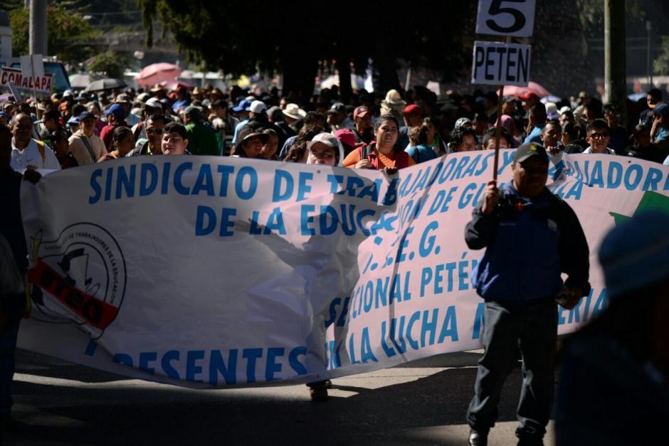 El sindicato que encabeza Joviel Acevedo exige incrementar el presupuesto del Ministerio de Educación. (Foto: Wilder López/Soy502)