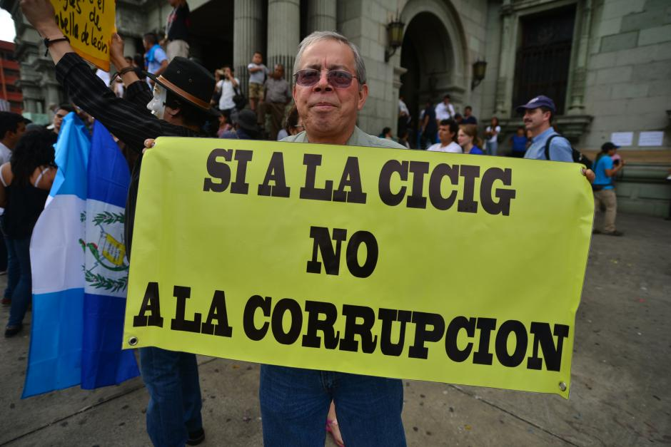 El apoyo a la CICIG quedó de manifiesto en este cartel. (Foto: Archivo/Soy502)