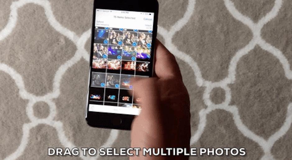 Selecciona todas las fotos arrastrando tu dedo para seleccioanrlas. (Foto: giphy)