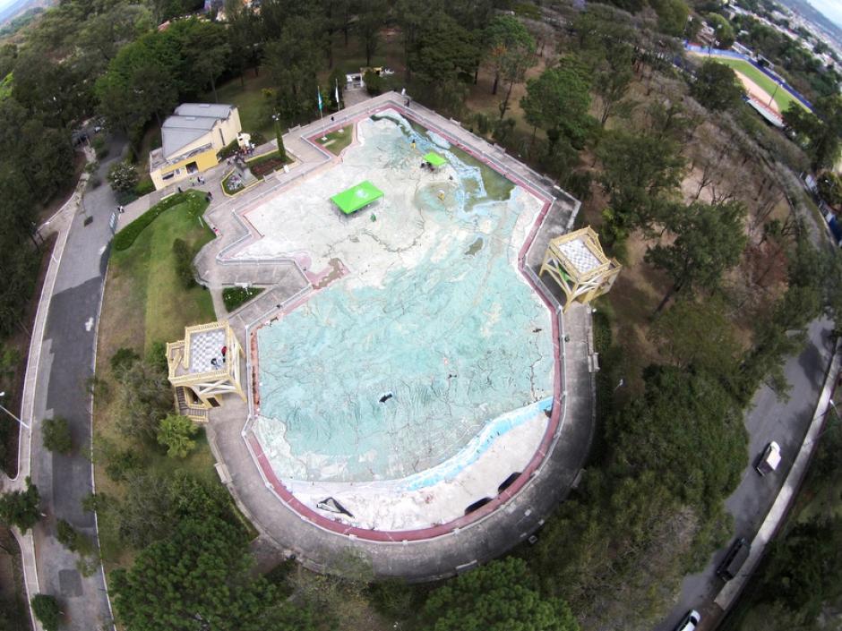 Esta es una vista aérea del mapa en relieve, ubicado en la zona 2 capitalina. (Foto: Deccio Lizzardy Serrano).