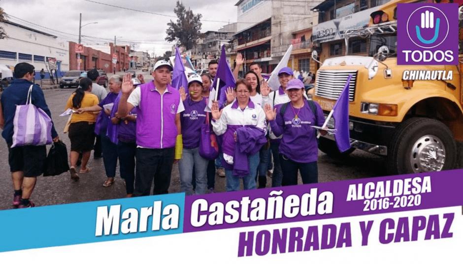 En su campaña para la alcaldía de Chinautla, la honradez era uno de los principales lemas. (Foto: @marlaXchinautla/Twitter)