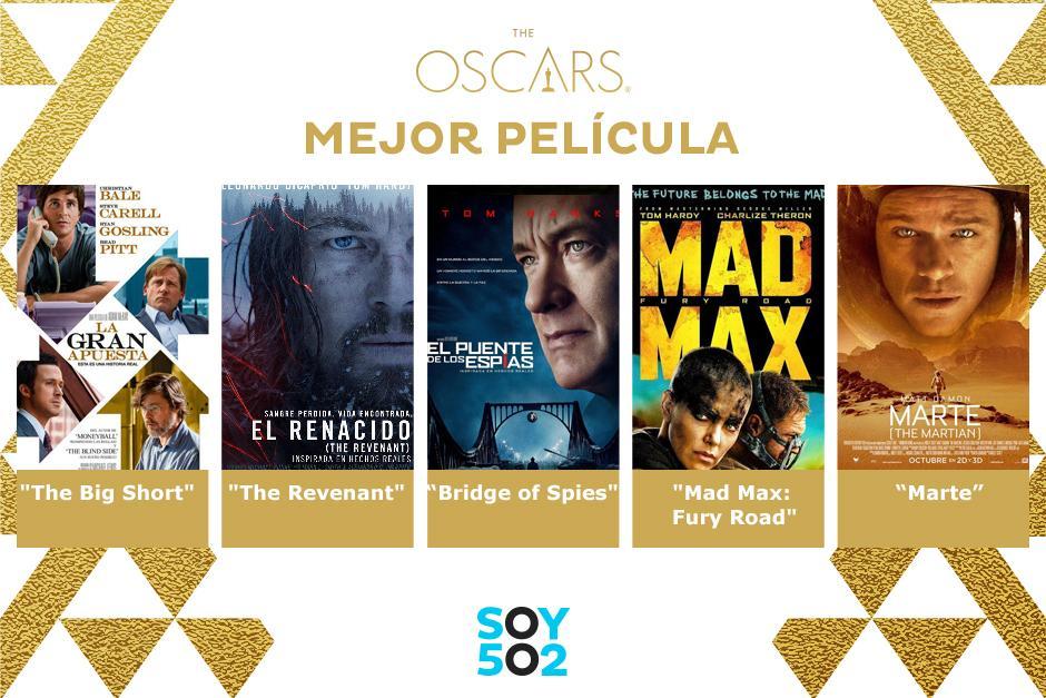 Hay ocho películas nominadas a Mejor Película.