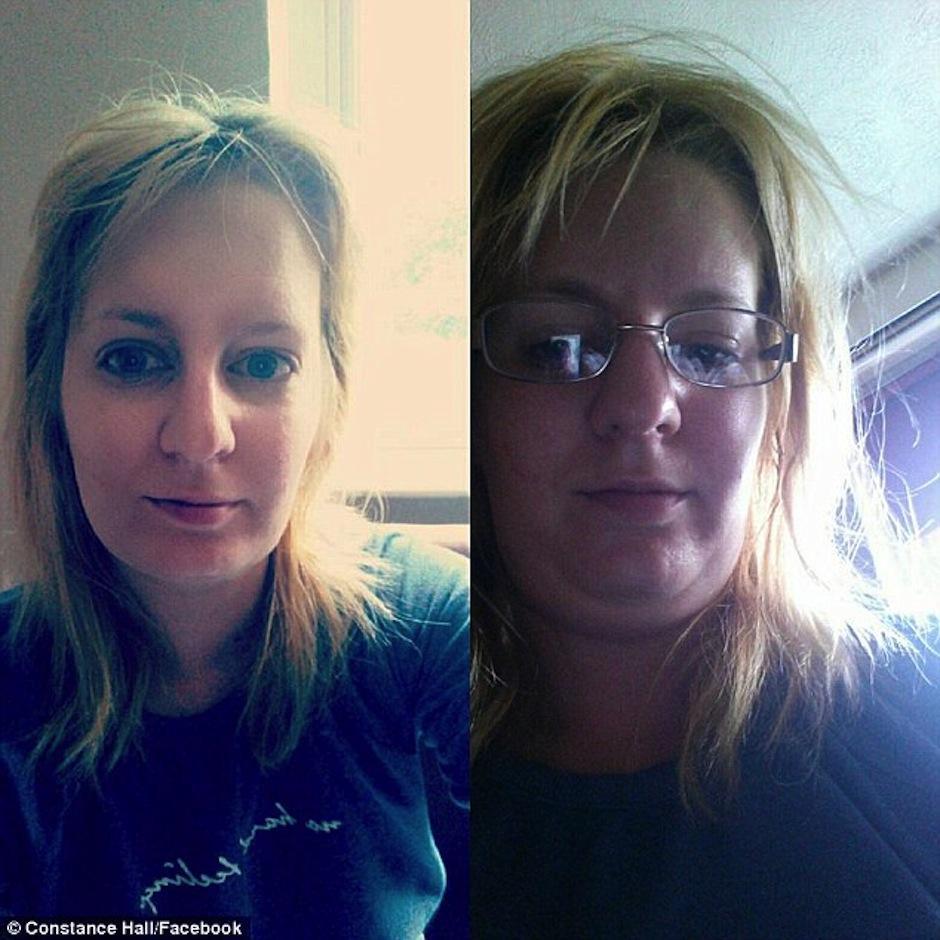 Con lentes y despeinada o lo contrario. Mira la diferencia. (Foto: Constance Hall/Facebook)
