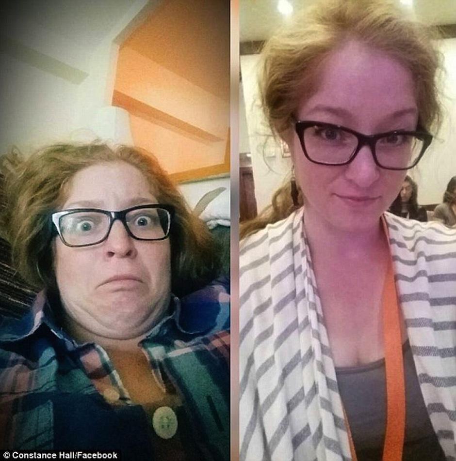 Esta chica simplemente cambió su postura. (Foto: Constance Hall/Facebook)