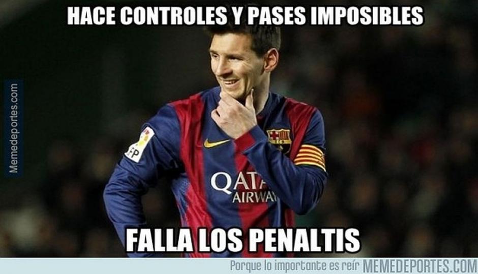 El fallar un penalti fue el motivo de la cantidad de memes contra Messi. (Foto: Memedeportes.com)