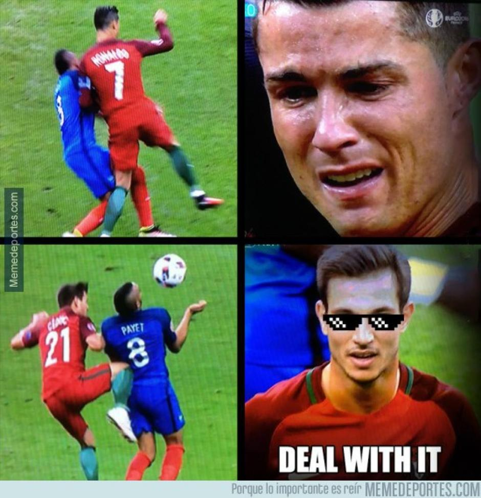 Cristiano Ronaldo se perdió la final de la Eurocopa al caer lesionado en pleno partido Francia vs Portugal tras un fuerte choque con Dimitri Payet. (Foto: Twitter)