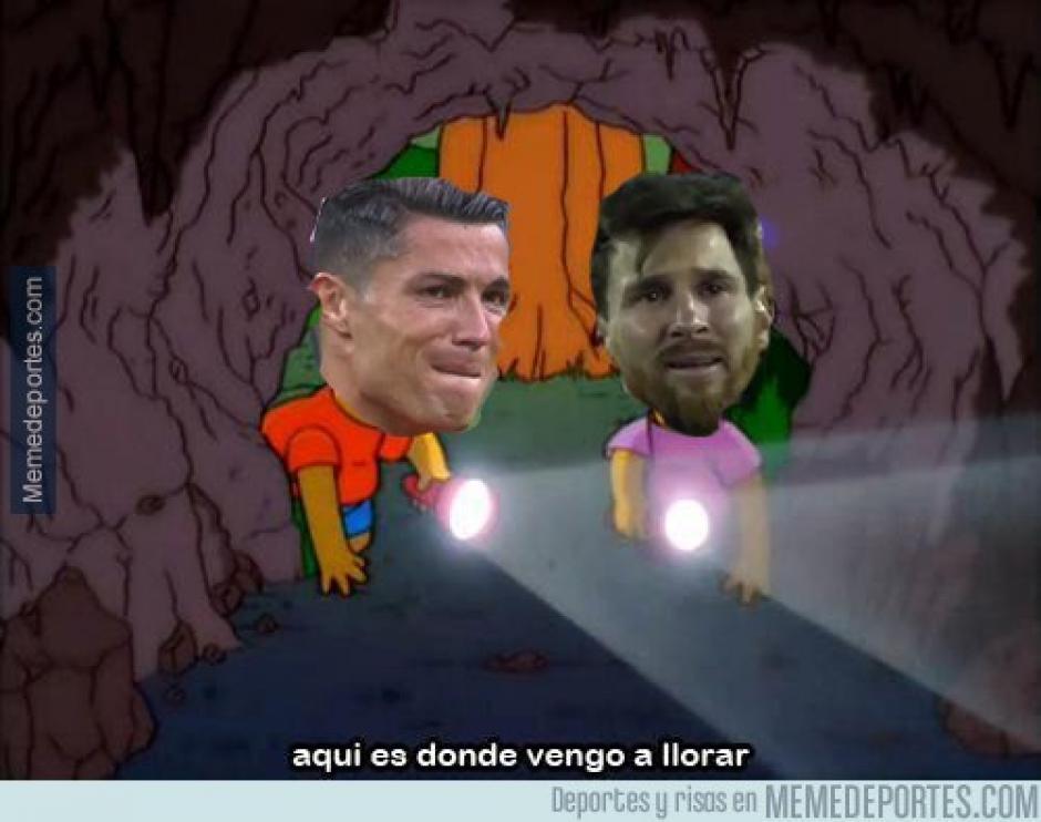 Los memes compararon las lágrimas de Cristiano Ronaldo con las de Messi. (Foto: Twitter)