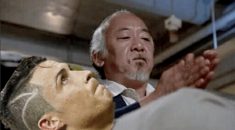 """El señor Miyagi """"intentó curar"""" a Cristiano en los memes. (Foto: Twitter)"""