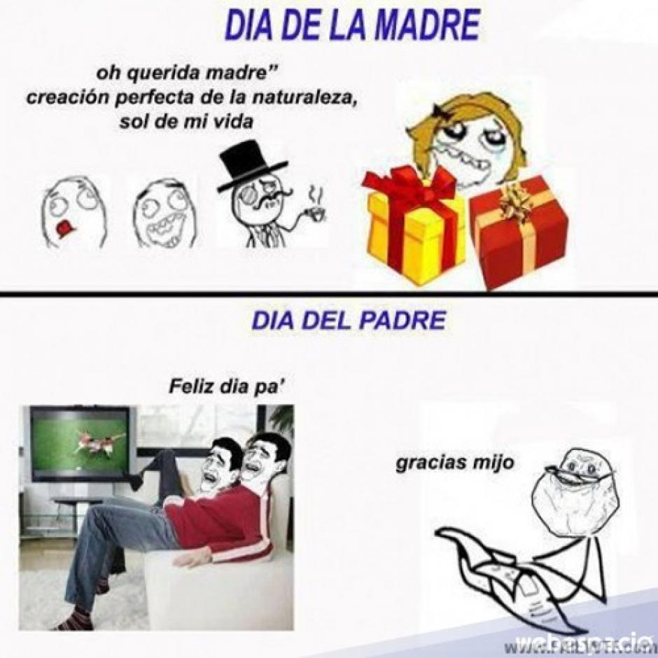 Algunos hacen la comparación de cómo se agasaja a las madres en su día y cómo la pasan los padres. (Foto: Twitter)