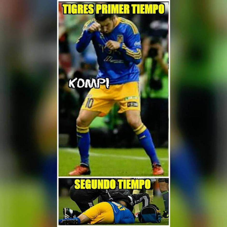 El jugador estrella de Tigres salió lesionado, lo que coincidió con el cambio de ritmo de su equipo. (Foto: Sopitas)