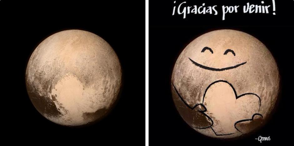 """Internautas celebran con """"memes"""" las primeras imágenes de Plutón. (Foto: Twitter)"""