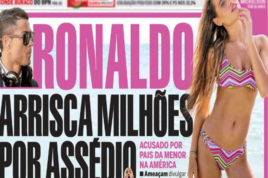 Esta es la portada donde el Correio da Manha publica la supuesta denuncia contra CR7 por cíberacoso. (Foto: Twitter)