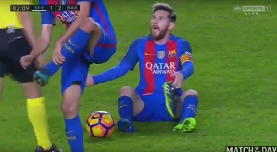 """""""La Pulga"""" resultó sorprendido por la actitud del árbitro. (Imagen: captura de YouTube)"""