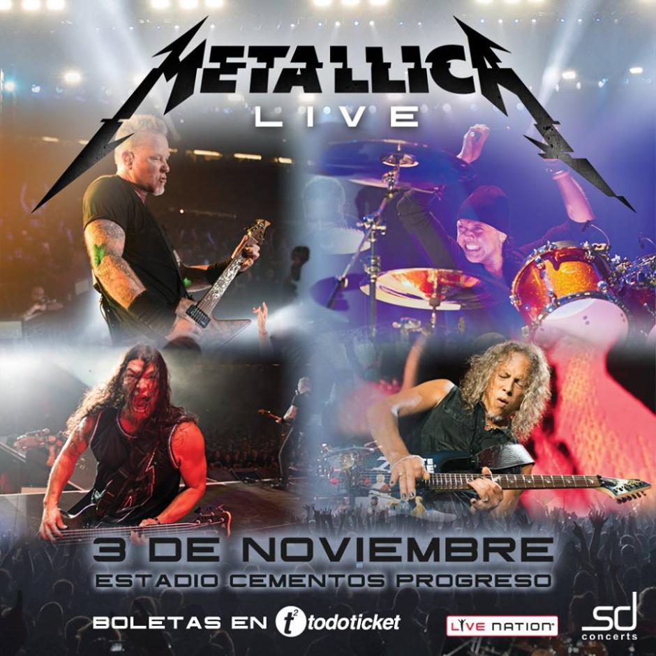 Metallica se presentará el próximo 3 de noviembre en el estadio Cementos Progreso. (Foto: Facebook/Guate-Eventos)